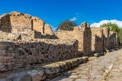 Ruines de Pompeii près de Naples, Italie Panorama de rue abandonnée à Pompeii images libres de droits