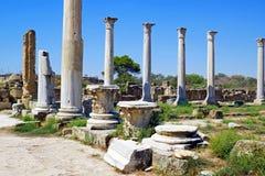 Ruines de Romains de la ville des salamis, près de Famagusta, la Chypre du nord Image stock