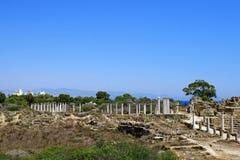 Ruines de Romains de la ville des salamis, près de Famagusta, la Chypre du nord Photo libre de droits