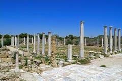 Ruines de Romains de la ville des salamis, près de Famagusta, la Chypre du nord Image libre de droits