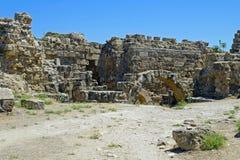 Ruines de Romains de la ville des salamis, près de Famagusta, la Chypre du nord Photographie stock libre de droits