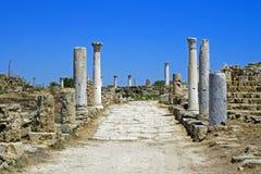 Ruines de Romains de la ville des salamis, près de Famagusta, la Chypre du nord Images libres de droits