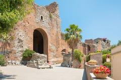 Ruines de Roman Theater grec, Taormina, Sicile, Italie Photographie stock