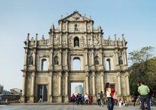 Ruines de St Paul dans la porcelaine de Macao Photos libres de droits