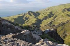 Ruines de Susita, mer de la Galilée, Golan Heights, hippopotames Photographie stock