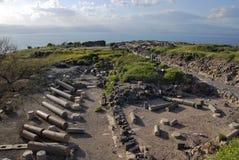 Ruines de Susita, mer de la Galilée, Golan Heights, hippopotames Images stock