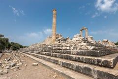 Ruines de temple antique d'Apollo dans Didyma Images libres de droits