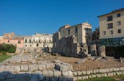 Ruines de temple d'Apollo à Syracuse, Siracusa photos stock