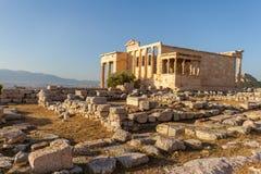 Ruines de temple d'Erechtheum sur l'Acropole à Athènes, Grèce images stock
