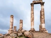 Ruines de temple de Hercule à la citadelle d'Amman Photo libre de droits