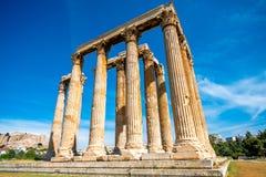 Ruines de temple de Zeus à Athènes photos libres de droits