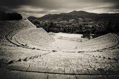 Ruines de théâtre d'epidaurus, Péloponnèse, Grèce Photos stock