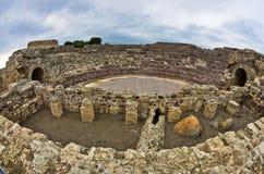 Ruines de vieille ville romaine de Nora, île de la Sardaigne images stock