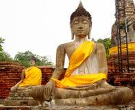 Ruines de ville antique d'Ayutthaya en Thaïlande, statues de Bouddha Images libres de droits