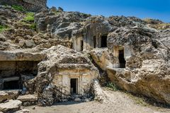 Ruines de ville antique de Tlos images libres de droits