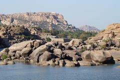Ruines de ville antique Vijayanagara, Inde Images libres de droits