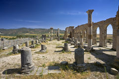 Ruines de Volubilis - la basilique Photographie stock