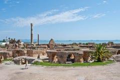 Ruines des thermae romains chez la Tunisie photographie stock libre de droits