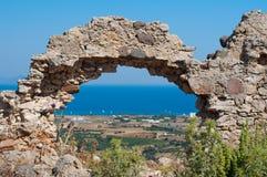 Ruines du château d'Antimachia en Grèce Photos libres de droits