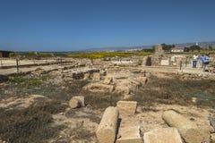 Ruines du grec ancien et de la ville romaine de Paphos Célèbre, image stock