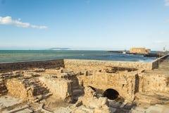 Ruines du mur côtier vénitien à Héraklion Crète images libres de droits