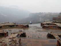 Ruines du temple chrétien antique dans Garni, Arménie Photographie stock libre de droits