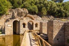 Ruines du temple d'Asclepius, Butrint, Albanie image stock