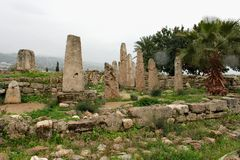 Ruines du temple de Baalat Gebal dans Byblos Photos stock