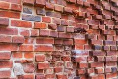 Ruines du vieux château Teutonic à Torun, Pologne Fond rouge de mur de briques photographie stock libre de droits