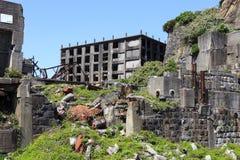 Ruines en île de Hashima Photos stock
