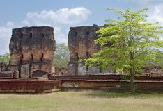 Ruines of l ancient hinduist temple. Two walls Ruines of  ancient hinduist temple in Sri Lanka Royalty Free Stock Photography