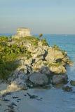 Ruines maya de Viento de del de Templo del Dios de Ruinas de Tulum (ruines de Tulum) dans Quintana Roo, péninsule du Yucatan, Mex Image libre de droits