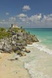 Ruines maya de Viento de del de Templo del Dios de Ruinas de Tulum (ruines de Tulum) dans Quintana Roo, péninsule du Yucatan, Mex Photographie stock libre de droits