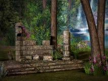 Ruines perdues de temple illustration de vecteur