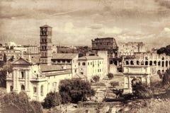 Ruines romaines à Rome Rétro modifié la tonalité Photographie stock libre de droits
