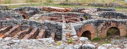 Ruines romaines de Conimbriga Structure de Hypocaust employée pour chauffer l'eau de bains de la Chambre de Cantaber Domus image stock