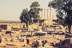 Ruines romaines Sanctuaire Esculape Thuburbo Majus Tunisie Images stock