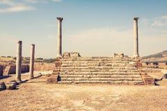 Ruines romaines Sanctuaire Esculape Thuburbo Majus Tunisie Photographie stock
