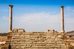 Ruines romaines Sanctuaire Esculape Thuburbo Majus Tunisie Images libres de droits
