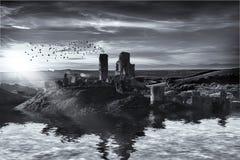 Ruines sur le paysage de l'eau Photo libre de droits