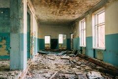 Ruinierte Atomkatastrophe Hall Of Abandoned School Afters Tschornobyl Stockfotografie