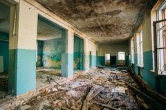 Ruinierte Atomkatastrophe Hall Of Abandoned School Afters Tschornobyl Lizenzfreies Stockfoto