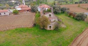 Ruinierte Kirchen-Antenne in West-Anatolien, die Türkei stock footage
