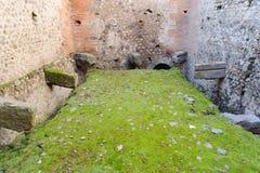 Ruinierte Toilette in Pompeji Stockfoto