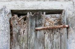 in ruinierter Holztür auf Marmorwand Lizenzfreies Stockfoto