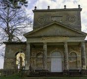 Ruinierter Tempel der Freundschaft auf Hawkwell-Feld in Stowe, Buckinghamshire, Gro?britannien lizenzfreies stockbild