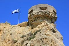 Ruinierter Turm auf einer Klippe, Zakynthos, Griechenland Stockfoto