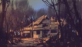 Ruiniertes Haus im Wald stock abbildung