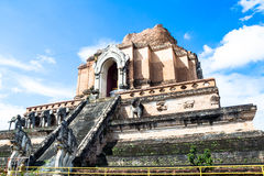 Ruinous pagoda in Wat Jedi Luang Royalty Free Stock Photo