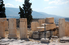 Ruins. View of the remaining columns within the Acropolis Stock Image